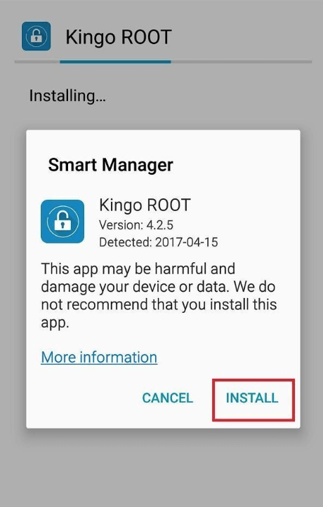Install KingoRoot apk