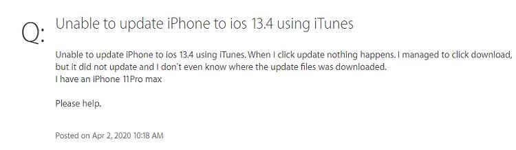 ios 13 itunes update issue