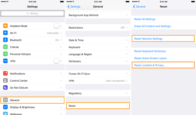Reset Network Settings or Reset Location & Privacy