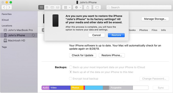 restore iphone by itunes step 2
