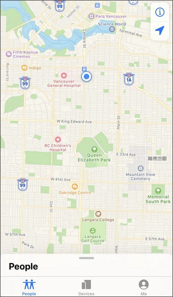 location on Find My Friends changed