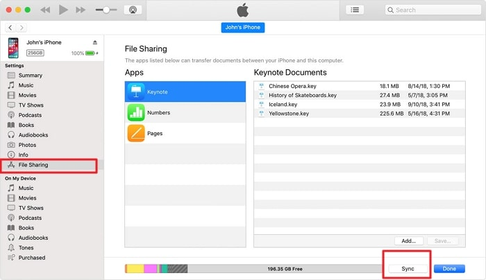 sync files from iphone to pc via itunes