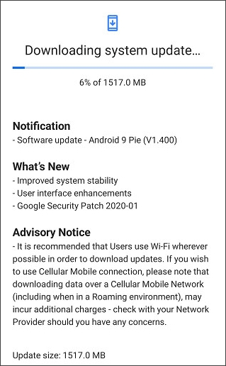 system update on your device