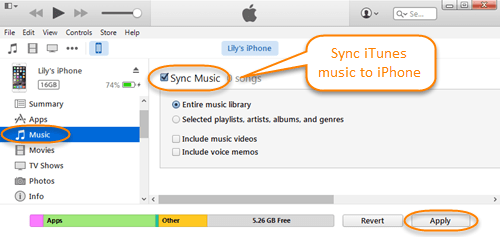 transfer music to iphone via itunes