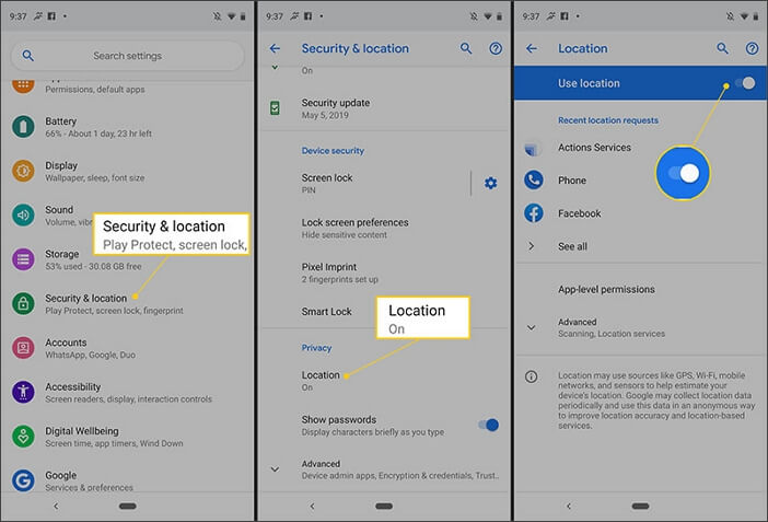 turn off location on Android