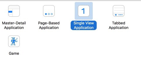 select Single View Application