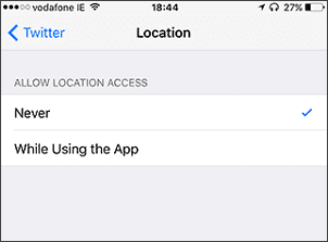 select location on iphone settings