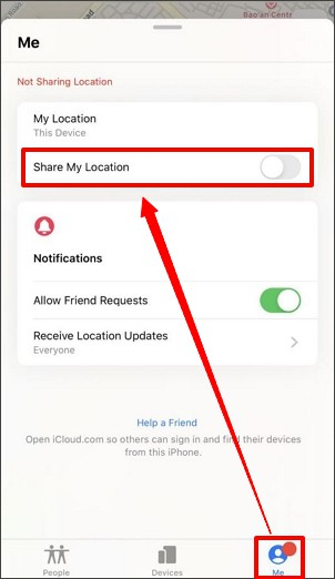 turn off share my location on iphone