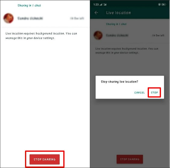 stop sharing live location on whatsapp