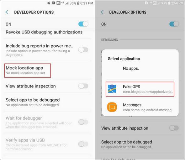 select fake gps as phone mock location app