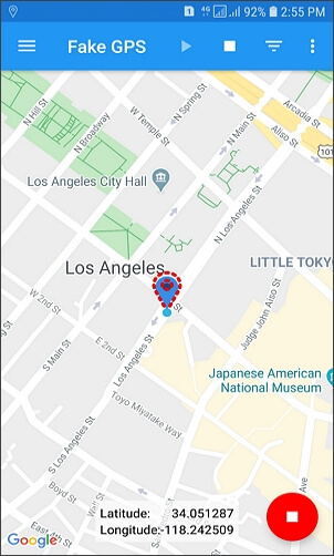 tap play and change gps location