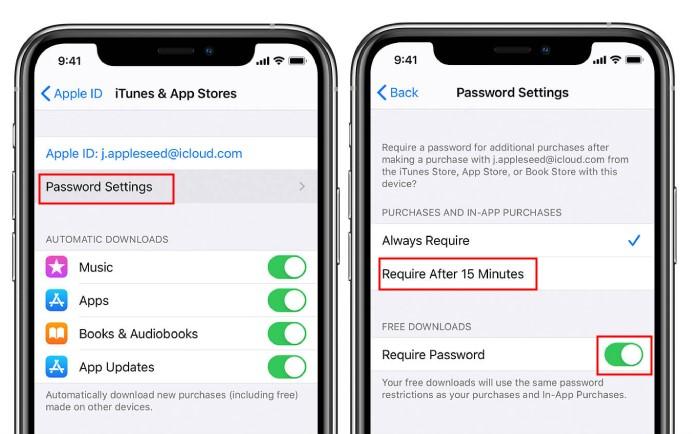 iTunes & App Store Password Settings