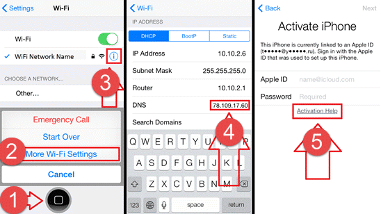 Wi-Fi Settings to enter DNS server and Back to Activate iPhone