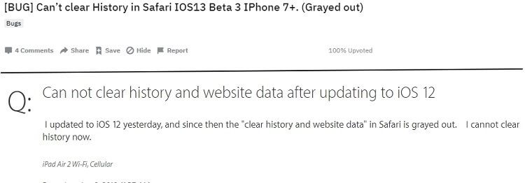 clear history and website data button grayed out on iphone