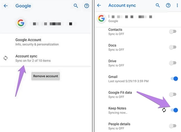 google sync transferring notes from android to iphone