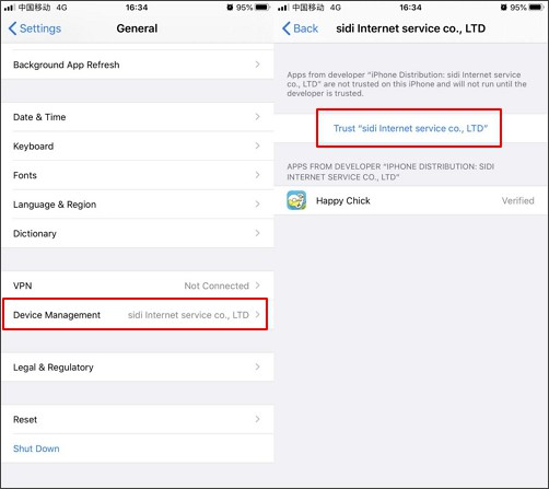 trust happy chick app on your iPhone settings