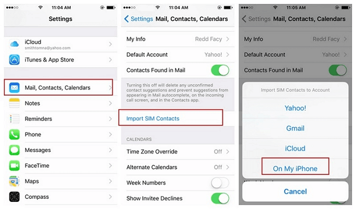 import sim contacts