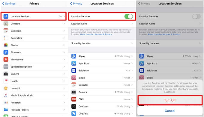 turn off location services on iphone