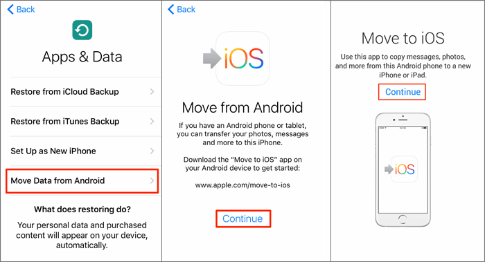 transfer data via Move to iOS