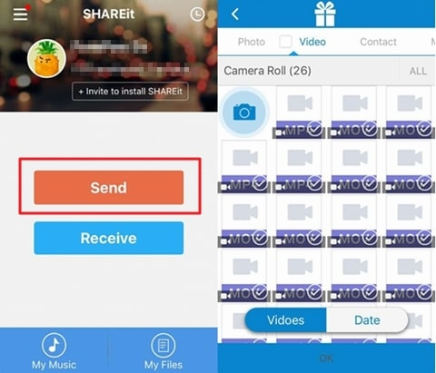 shareit transfer videos from android to iphone