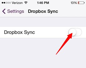 turn on dropbox sync on settings