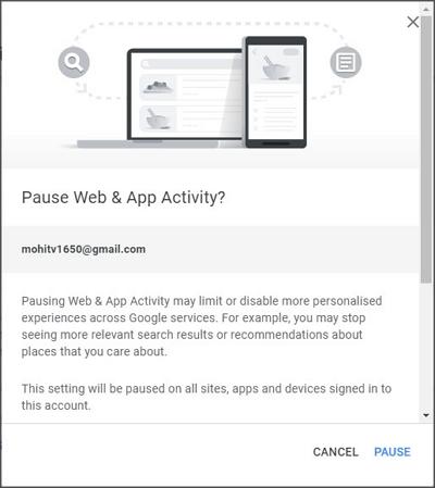 pause web & app activity