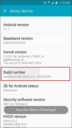enable developer option on android phone