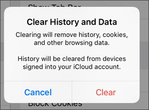 confirm clearing history and data