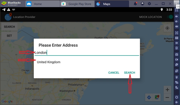 enter address on the search bar