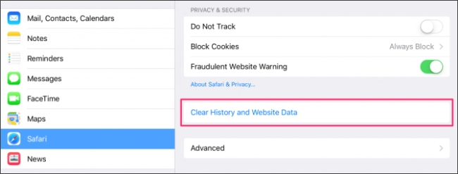 clear history and website data on iOS Safari