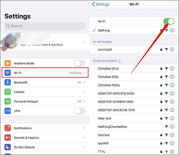 turn on and off wifi on iPhone settings