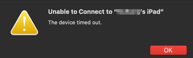 Unable to connect iTunes error