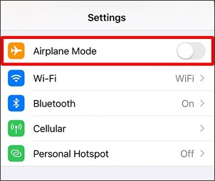 turn on airplane mode on settings