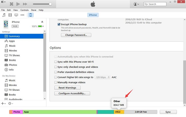 clear system storage with itunes