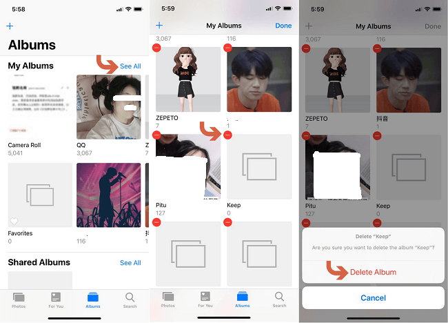 delete albums from iphone