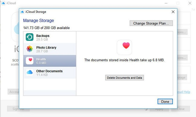 remove apps data from icloud window users