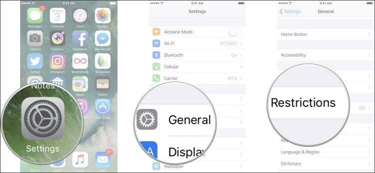 select restrictions in settings app on iphone