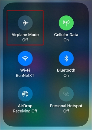 turn on airplane mode on control center
