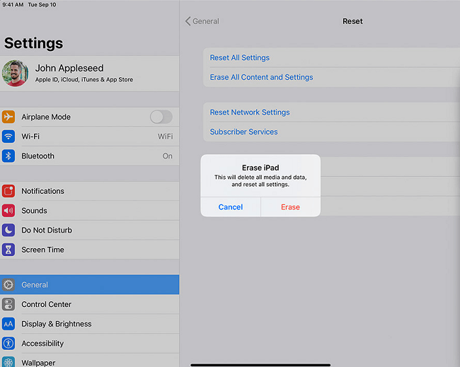 erase ipad on settings