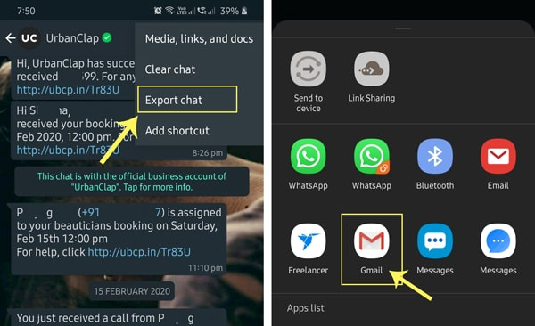 select whatsapp export chat to email option
