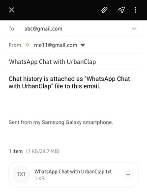 whatsapp export chat via email