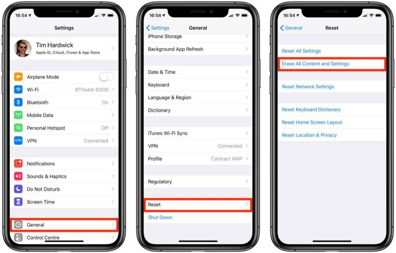 erase all content and settings on iphone