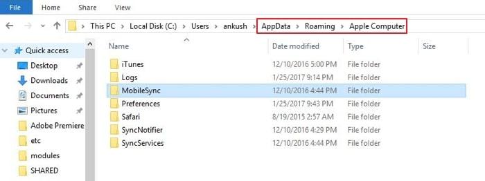 find itunes backup folder