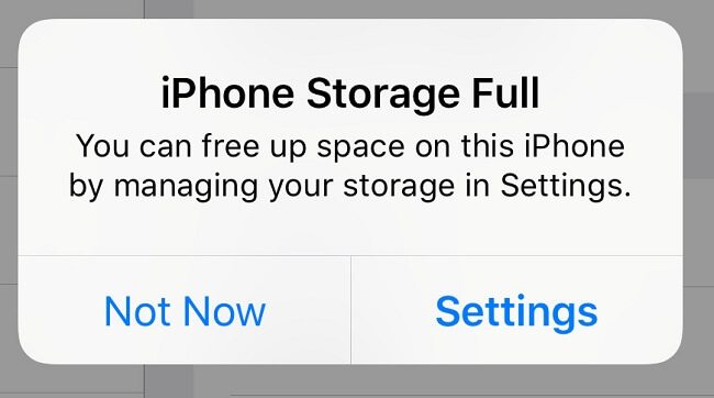 iphone storage full notification