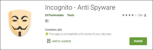 Incognito Anti-Spyware spyware removal app for android