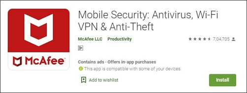 McAfee Mobile Security spyware removal app for android