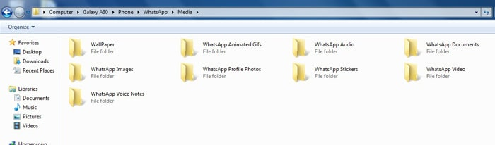 open whatsapp media folder