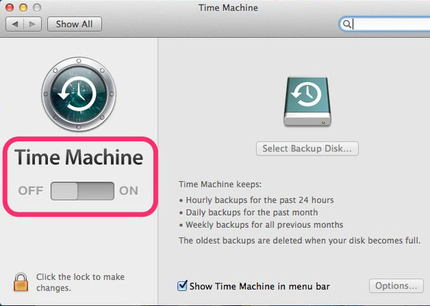 recover cleared safari history mac - Turn On Time Machine