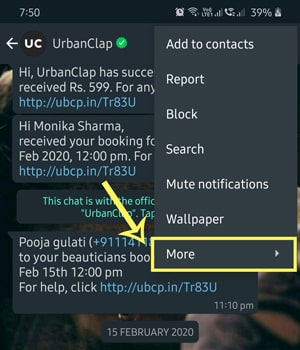 select whatsapp chat to export