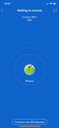 receive button screen in ShareIt of iPhone